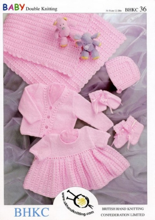 "Shawl - Dress - Cardigan - Hat - Mittens and Booties Pattern 036 12"" - 20"""
