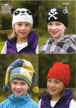 King Cole DK Childs Hat Patterns 3442