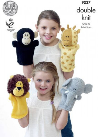 King Cole DK Animal Hand Puppet Pattern - 9027
