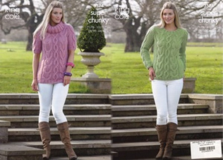 "King Cole Super Chunky Sweaters Pattern 3574 (71-117cm - 28-46"")"