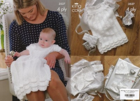 """King Cole Baby 4 Ply Christening Set 3537 36-46cm (14-18"""")"""