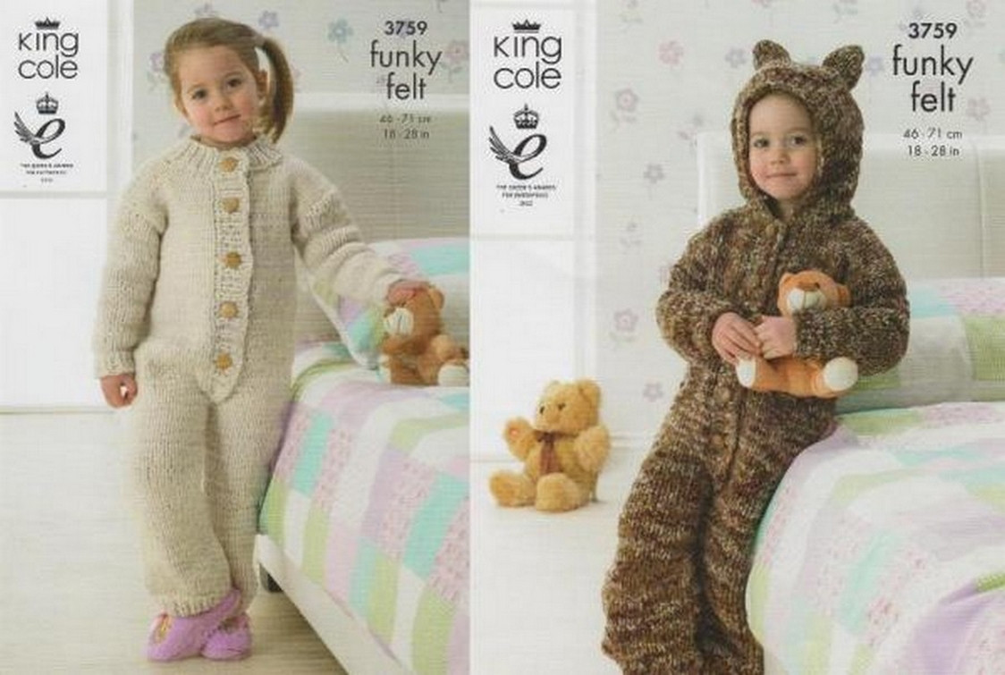 "King Cole Funky Felt Chunky 3759 Girls Knitting Pattern 18-28/"" All In One"