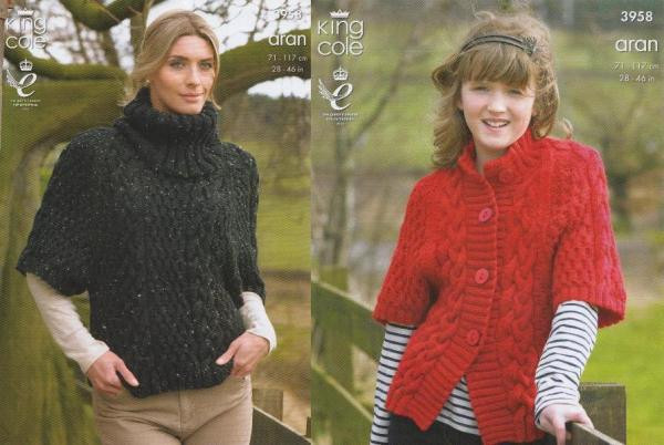 KNITTING PATTERN Ladies//Girls Cable Jumper and Jacket Aran King Cole 3958