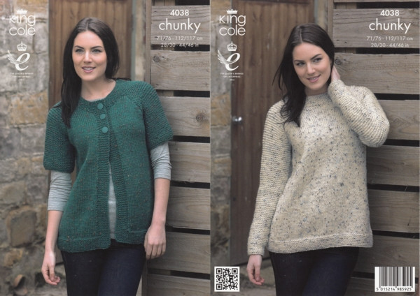 f74dcc9dcc75 Chunky Tweed Pattern 4038 Ladies Sweater and Cardigan. Double tap to zoom