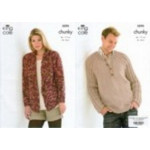 Mens and Ladies Sweater and Jacket Chunky Pattern 3295