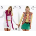 """King Cole Ladies Garland gilet and Scarf Pattern 3413 36"""" - 40"""""""