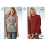 Ladies Chunky Sweater and Sleeveless Top Pattern 3431