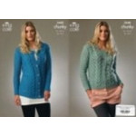 Ladies Chunky Sweater and Cardigan Pattern 3440