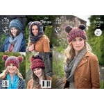 King Cole Hats and Hood Pattern 3786 7 years to adult - D