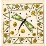 """Wood-Mounted Rubber Stamp - Dragonfly Quilt 7.5x7.5cm (approx 3""""x3"""")"""