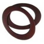Oval Wooden Handbag Handles (Pair) - Brown 19cm wide