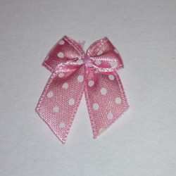 Pre-Made Bows - Scatter Bows - 10mm Pink with White Dots (Pack of 4)