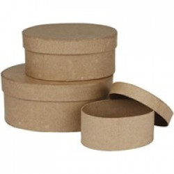 Set of 3 Papier Mache Boxes with Lid - Oval