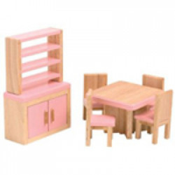 Dolls House Emporium - 112 Pink Kids Dining Room Set 2646