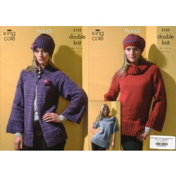 Moods DK Ladies Jacket - Sweater - Top and Hats Pattern 3123