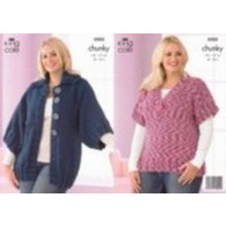 """King Cole Ladies Chunky Jacket and Top Pattern 3203 40"""" - 50"""" (102-127 cm)"""
