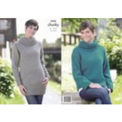 """King Cole Ladies Big Value Chunky Sweaters Pattern 3252 32"""" - 44"""" ( 81 - 112 cm)"""