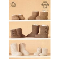 King Cole Unisex DK Hug Slippers Pattern 3275 1/2 Years to Adult