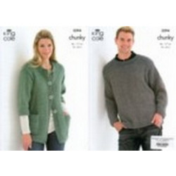 "King Cole Family Chunky Sweater and Jacket Pattern 3294 34"" - 46"" (86-117 cm)"