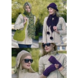 King Cole DK Ladies Scarf - Hat - Bag Beret and Wrist Warmers Patterns 3299