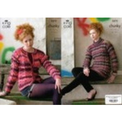 """Riot Chunky Ladies Sweater and Cardigan Pattern 3372 32""""-44"""" (81-112 cm)"""