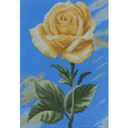 Lanarte Home and Garden Collection Yellow Rose on Blue Cross Stitch Kit 35046