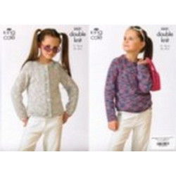 King Cole Girl's DK Sweater and Cardigan Pattern 3521