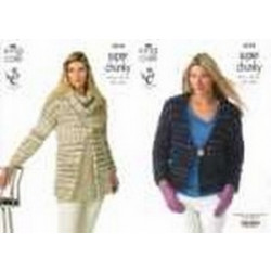 """King Cole Super Chunky - Ladies Jackets & Snood 3578 (81-107cm- 32-42"""")"""