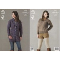 King Cole Chunky - 3593 Ladies Jacket & Sweater 81-107cm -D