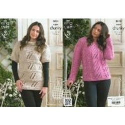 Ladies' Super Chunky Sweaters Pattern 3815 - 81 to112cm (32 to 44ins)