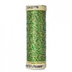 Gutermann Metallic Effect Thread 50m - 400 Apple Green and Gold