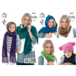 Big Value Chunky Hat and Scarves Pattern 4092 4 Years to Adult
