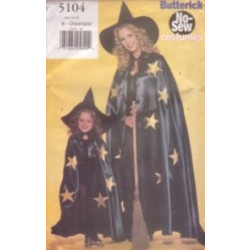 Butterick Pattern - No-Sew Child's Witch Costume (sizes 8-18) - 5104B