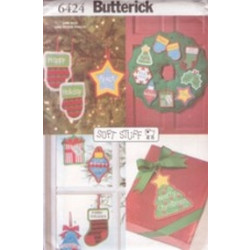 Butterick Pattern - No-Sew Christmas Ornaments - One Size - 6424
