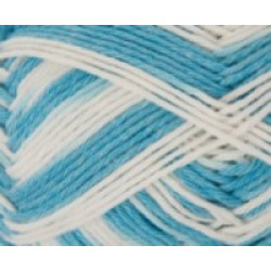 Baby Cotton Soft Print DK - 50g Balls - 014 Sky Blue/White