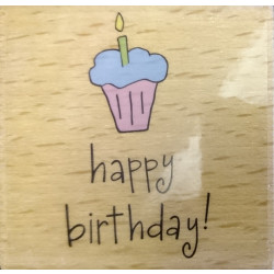 Katie & Co-Wooden Stamp - Birthday Cupcake