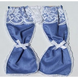 Blue with White Lace curtain