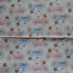 Fat Quarter - Bicycles - Pink and Blue on Cream