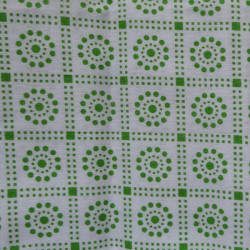 Fat Quarter - Dots and Squares - Green on White