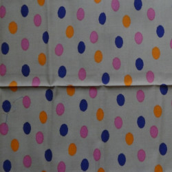 Fat Quarter - Dots - Purple, Pink, Orange Dots on Beige
