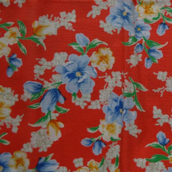 Fat Quarter - Flowers - Blue on Orange Background