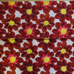 Fat Quarter - Big Flowers - Dark Red