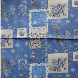 Fat Quarter - Patchwork Flowers - Blue