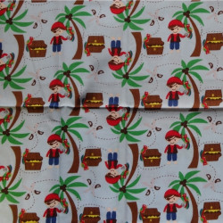 Fat Quarter - Pirates and Palm Trees - Blue Background
