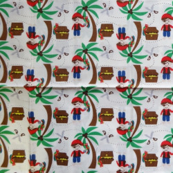 Fat Quarter - Pirates and Palm Trees - Cream Background