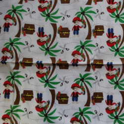 Fat Quarter - Pirates and Palm Trees - White Background