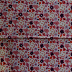 Fat Quarter - Small Flowers - Pinks on White