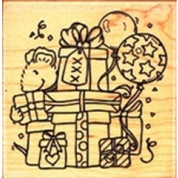 """Funstamps Wood-Mounted Rubber Stamp - FQ98 Gifts Galore 7.5x7.5cm (approx 3""""x3"""")"""