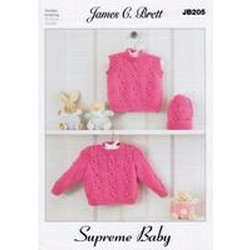 Babies Sweater - Slipover and Hat Pattern JB205 (31-51cm/12-20ins)