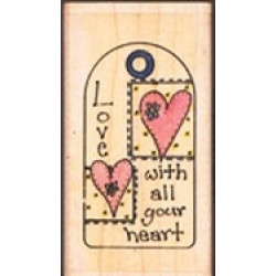 """Love With All Your Heart Tag approx 4x8cm (1.5""""x3.25"""")"""